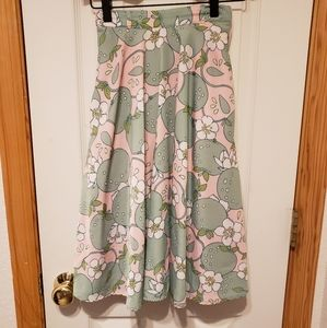 Modcloth green pink white floral apple swing skirt